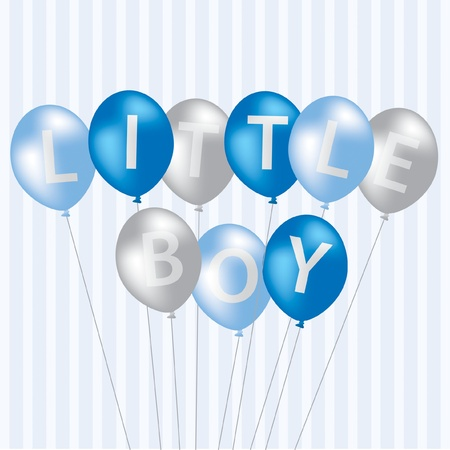 Little Boy blue balloon card in vector format  Vector