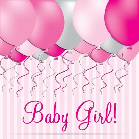 baby grand: Baby Girl card in vector format