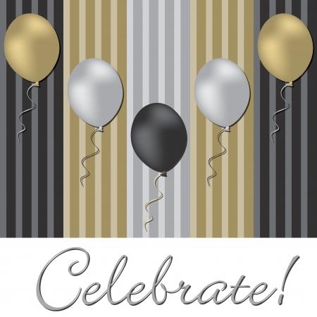 christmas dinner party: Elegant balloon celebration card in vector format