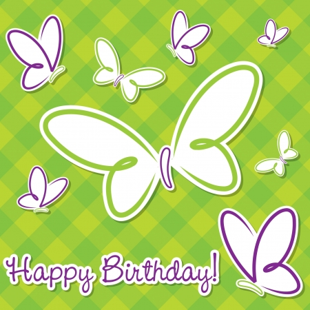 Butterfly birthday card in vector format  Stock Vector - 19469431