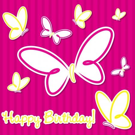 Butterfly birthday card in vector format  Vector