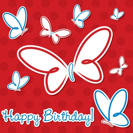 Butterfly birthday card in vector format  Vector