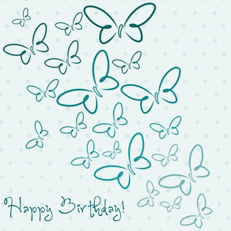 Aqua hand drawn Happy Birthday butterfly card in vector format  Vector