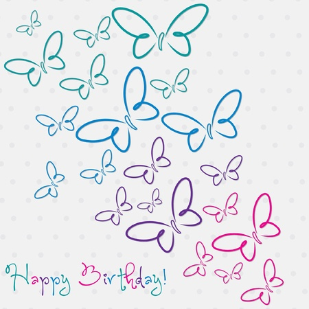 Multi colored hand drawn Happy Birthday butterfly card in vector format  Vector