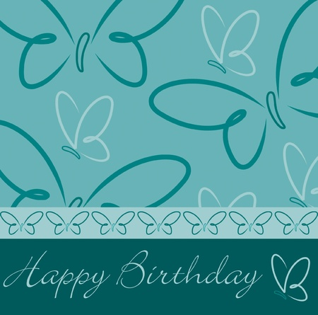 Hand drawn Happy Birthday butterfly card in vector format  Vector