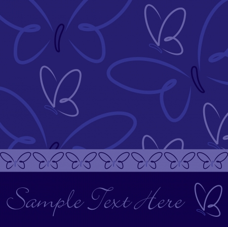 All occasion navy blue butterfly card in vector format  Vector
