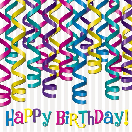 birthday party background: Curling ribbon inspired birthday card in vector format