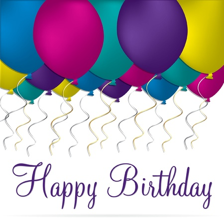 Bright happy birthday balloon card in vector format  Vector