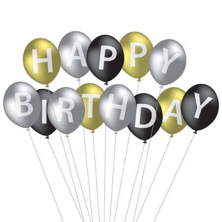 silver anniversary: Silver, gold and black balloon bunch Happy Birthday card in vector format