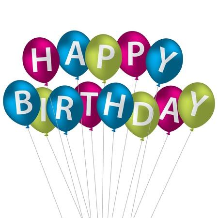 multi coloured: Multi coloured bright balloon bunch Happy Birthday card in vector format  Illustration