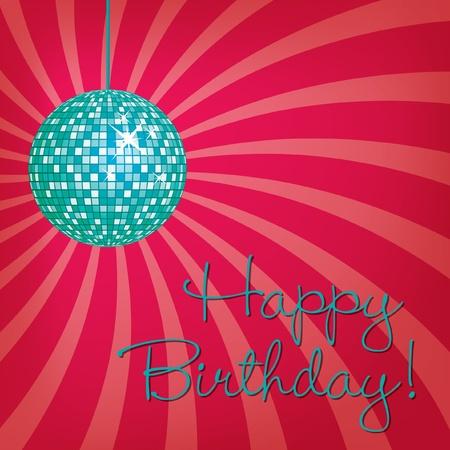 Aqua disco ball Happy Birthday card in vector format  Vector