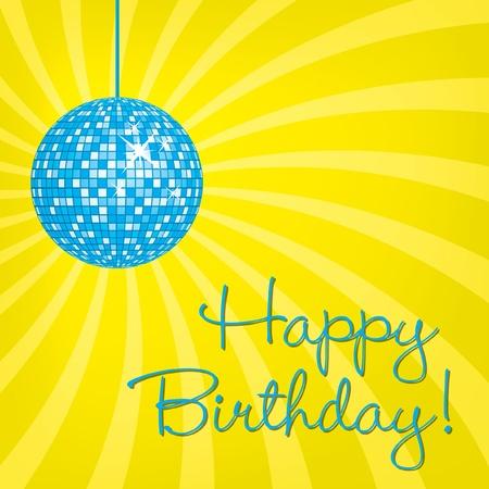 Blue disco ball Happy Birthday card in vector format  Illustration