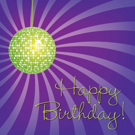 Lime Green disco ball Happy Birthday card in vector format  Vector