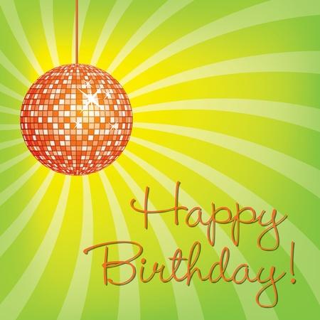 Orange disco ball Happy Birthday card in vector format