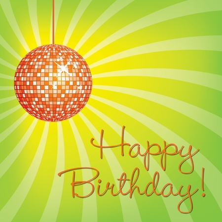 Orange disco ball Happy Birthday card in vector format  Vector