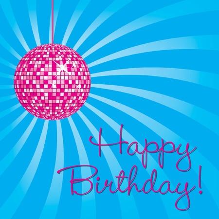 Pink disco ball Happy Birthday card in vector format  Vector