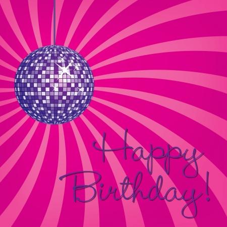 anni settanta: Viola disco ball Happy Birthday card in formato vettoriale
