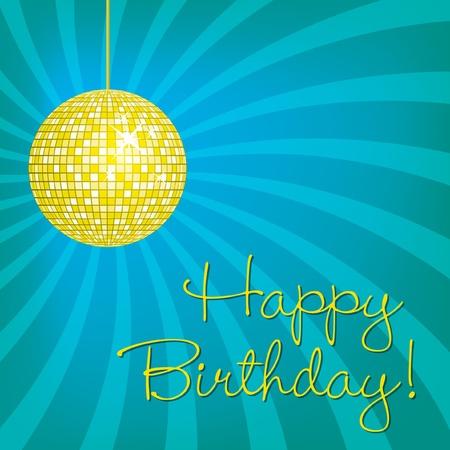Yellow disco ball Happy Birthday card in vector format