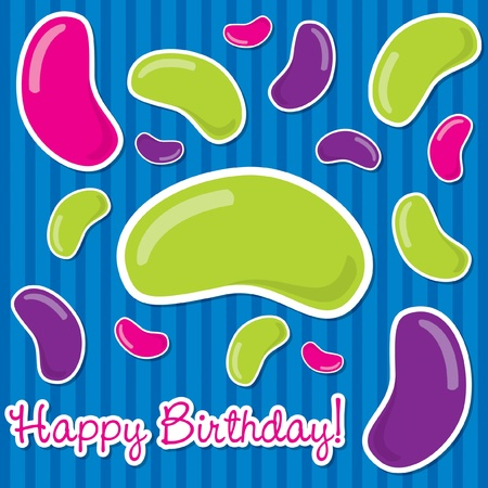 jelly beans: Happy Birthday jelly bean sticker card in vector format