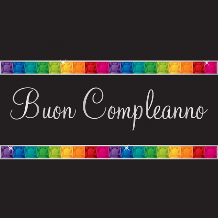 peridot: Italian  Happy Birthday  card in vector format