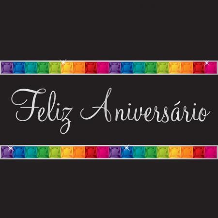 peridot: Portuguese  Happy Birthday  card in vector format