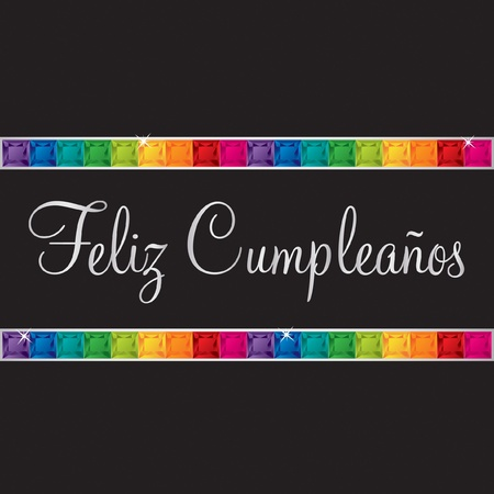 Spanish Happy Birthday Card In Vector Format Royalty Free Cliparts