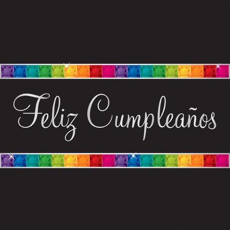 peridot: Spanish  Happy Birthday  card in vector format