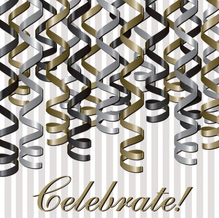 Curling ribbon inspired celebration card in vector format