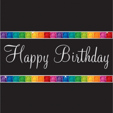 peridot: Happy Birthday bling card in vector format  Illustration