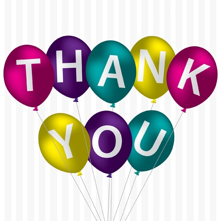 Bright balloon bunch  Thank You  card in vector format