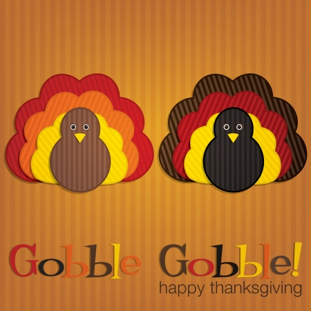 gobble: Corduroy turkey Thanksgiving card in vector format