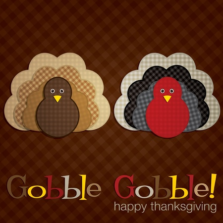 gobble: Plaid turkey Thanksgiving card in vector format