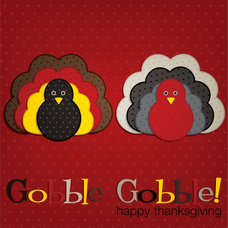 gobble: Spotty turkey Thanksgiving card in vector format