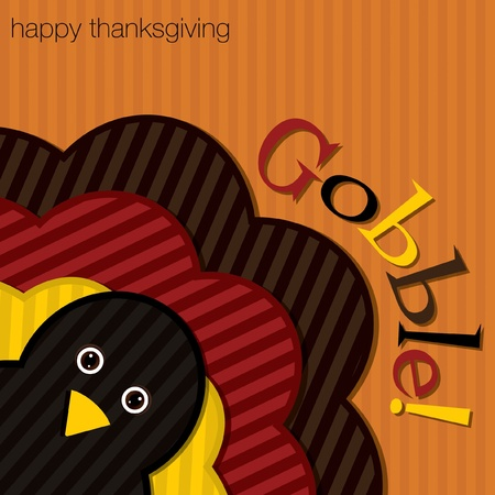 gobble: Hiding turkey corduroy Thanksgiving card in vector format