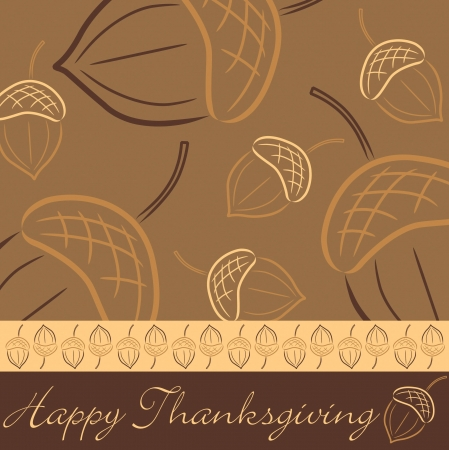 thanksgiving feast: Hand drawn acorn Thanksgiving card in vector format