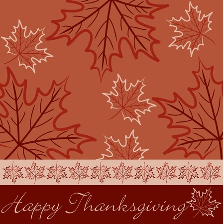 Hand drawn maple leaf Thanksgiving card in vector format  Vector