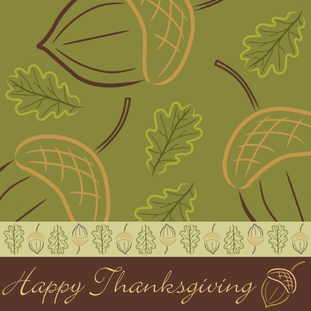 thanksgiving leaves: Hand drawn acorn Thanksgiving card in vector format