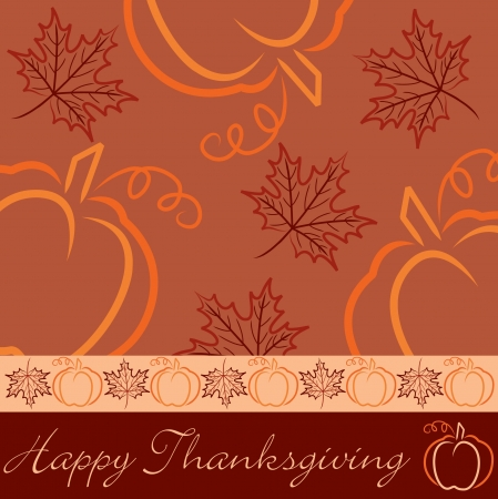 Hand drawn pumpkin and maple leaf Thanksgiving card in vector format  Vector