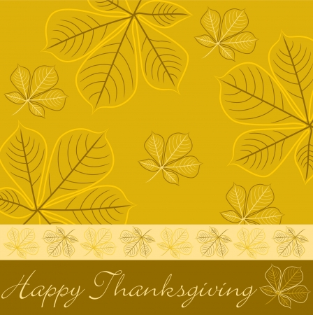 Hand drawn fall leaf Thanksgiving card in vector format  Vector