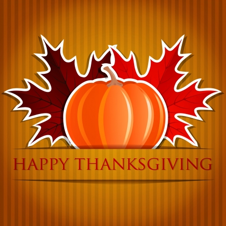 Pumpkin and maple leaf Thanksgiving card  Vector