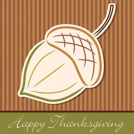 thanks giving: Hand drawn acorn Thanksgiving card in vector format