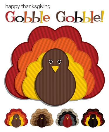 beautiful thanksgiving: Turkey stickers in vector format