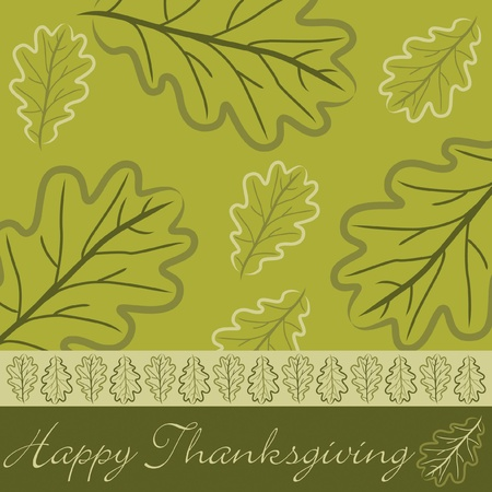 Hand drawn acorn leaf Thanksgiving card in vector format