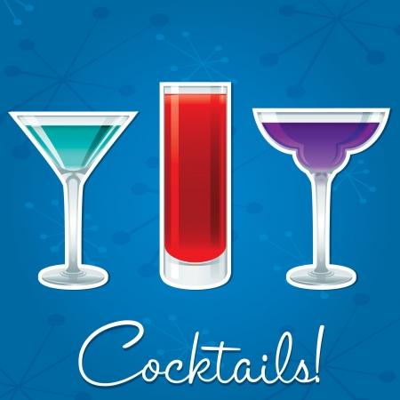 margherita: Bright retro cocktail card in vector format