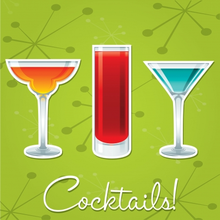Bright retro cocktail card in vector format  Vector