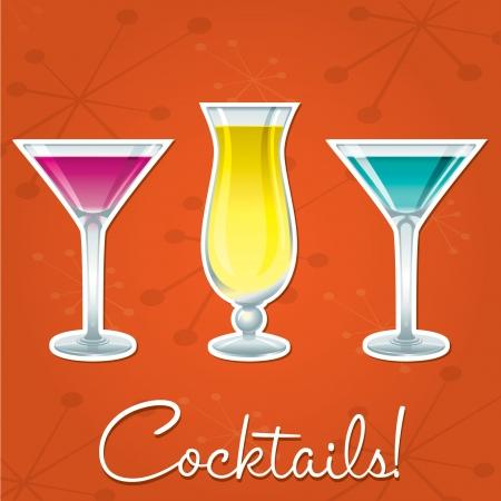 Bright retro cocktail card in vector format  Vector