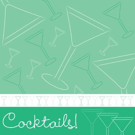 Dibujado a mano la tarjeta de cócteles en formato vectorial
