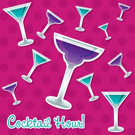 Bright retro cocktail hour sticker card in vector format  Vector