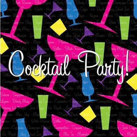 Bright cocktail Invitation card in vector format  Vector