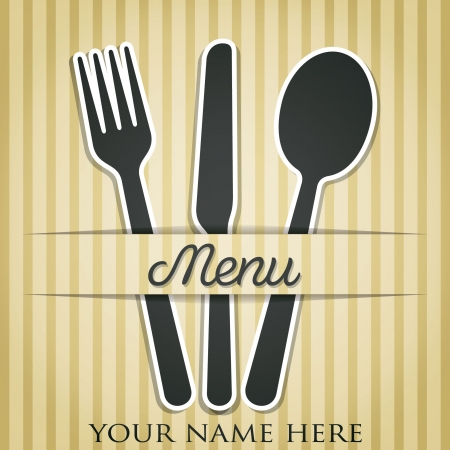 pin stripe: Cutlery theme paper cut out menu in vector format  Illustration